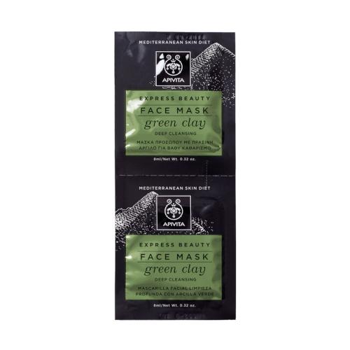 Apivita Maska za lice za dubinsko čišćenje - zelena glina 2x8ml