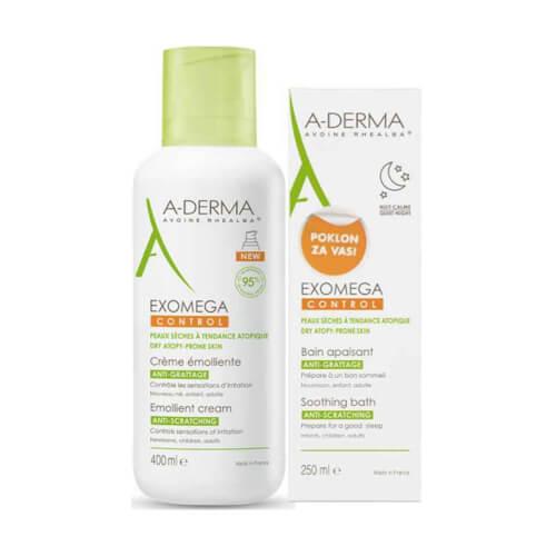 A-Derma Exomega Control emolijentna krema + kupka GRATIS 400ml + 250ml