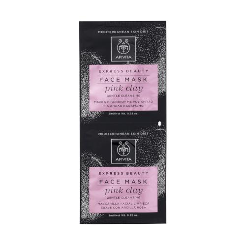 Apivita Maska za lice za nježno čišćenje s ružičastom glinom 2x8ml